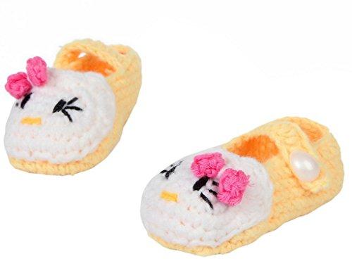 Smile YKK 1 Paar One Size 11cm Baby Unisex süße Strick Strickschuh klein Schuh ohne Deko Grün Maus Gelb