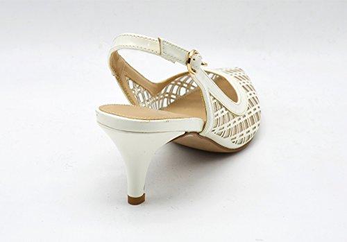 SHT18 * Escarpins Bout Pointu à Petit Talon avec Carreaux Vernis et Résille Transparente - Mode Femme Blanc