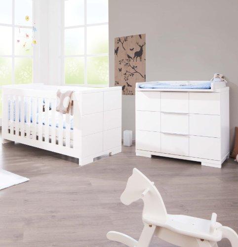 Preisvergleich Produktbild Pinolino Sparset Polar breit, 2-teilig, Kinderbett (140 x 70 cm) und breite Wickelkommode mit Wickelaufsatz, weiß Edelmatt (Art.-Nr. 09 34 21 B)