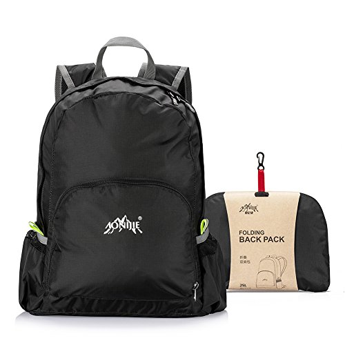 GSTEK-Ultra-Lightweight-Nylon-Backpack-Foldable-Daypack-School-Bag-Pack-for-Day-Travel-Sport-Cycling-Hiking-Camping-25L-Black