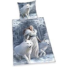 Herding 4481037039 Bettwäsche Anne Stokes, Kopfkissenbezug, 80 x 80 cm und Bettbezug, 155 x 220 cm, renforce