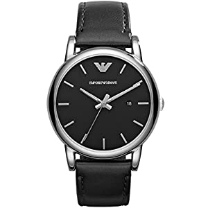 Emporio Armani 0 – Reloj de Cuarzo para Hombre, con Correa de Cuero, Color Negro