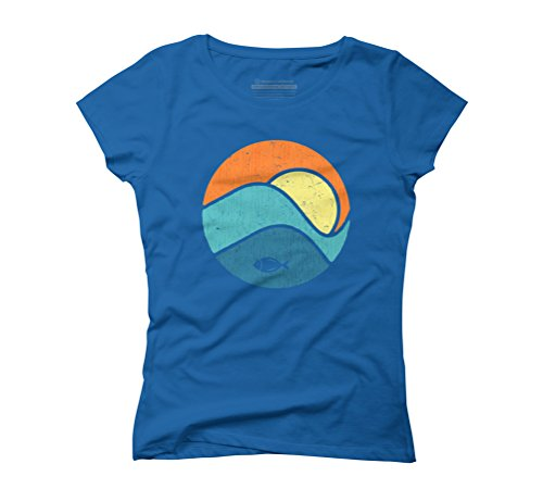 Fish by the sunrise Women's Graphic T-Shirt - Design By Humans Royal Blue