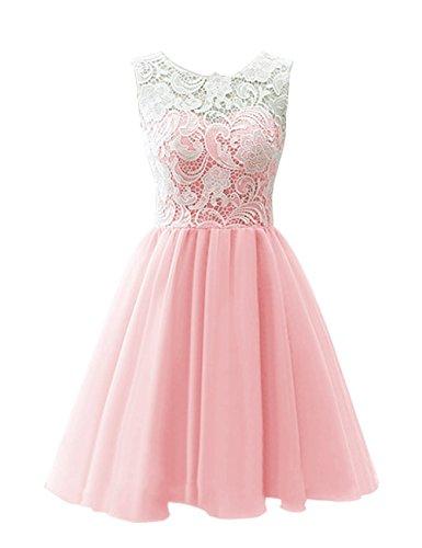 KekeHouse® Robe de Cérémonie Mariage Soirée Fille Enfant Femme Courte Fille de fleur En A Rose