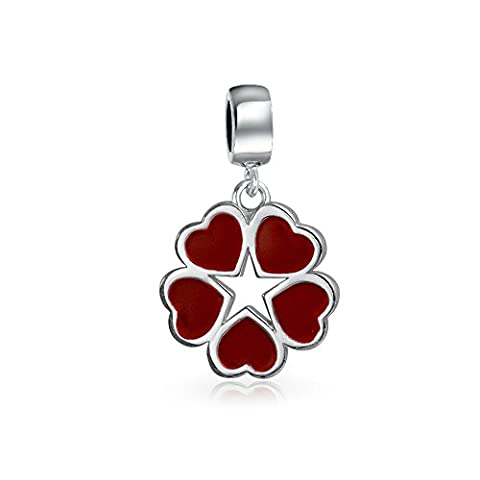 Sterling Silber rot Emaille Herz Stern Blume baumeln Charm Perle