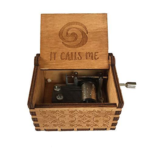 BEARCOLO Antike Geschnitzte hölzerne Handkurbel-Spieluhr, Exquisite Retro-Thema-Spieluhr für Geburtstagsfeier-Feriengeschenk Size Moana