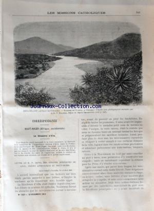 MISSIONS CATHOLIQUES (LES) [No 1537] du 18/11/1898 - HAUT-NIGER - LE DESASTRE D'ALLA - LETTRE DU RP ZAPPA - ZOULOULAND PAR LE RP ROUSSET - NOUVEAU-MEXIQUE PAR JUILLARD