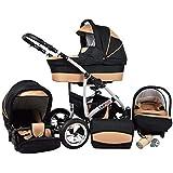 Kinderwagen Largo, 3 in 1- Set Wanne Buggy Babyschale Autositz (Black Coffe)