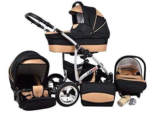 Kinderwagen Largo, 3 in 1- Set Wanne Buggy Babyschale Autositz (Black Coffe)