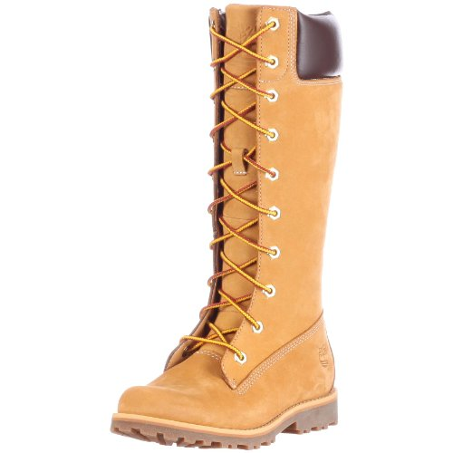 Timberland Asphalt Trail FTK_Girls Classic Tall Lace Up with Side Zip 83780, Mädchen Combat Boots, Gelb (Wheat Nubuck), EU 35 (US 3) (Tall Classic Winterstiefel)