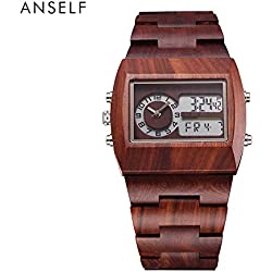 Anself Men Analog-Digital Wooden Watch Waterproof with Luminous Calendar and Alarm + Watch Box