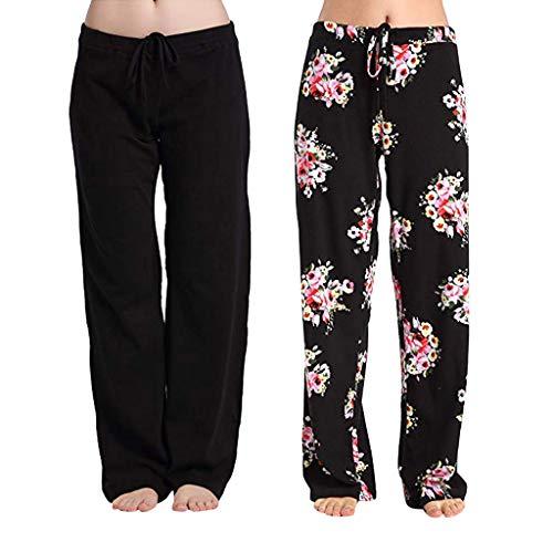 Auiyut Freizeithosen Damen Casual Stretch Cotton Pyjama Hosen Strandhosen Einfache Sport Yoga Hose Elastische Enge Feste Hüfthosen-Yogahosen Boho Weite Bein 4PC Hosen