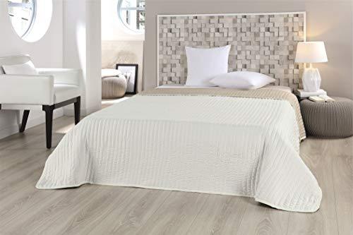 MB Warenhandel24 XXL Tagesdecke Allzweckdecke ca. 220x240 Patchwork Landhaus Sofa Bettüberwurf Beige Flieder Terra Schoko (Uni Wende Sand) -