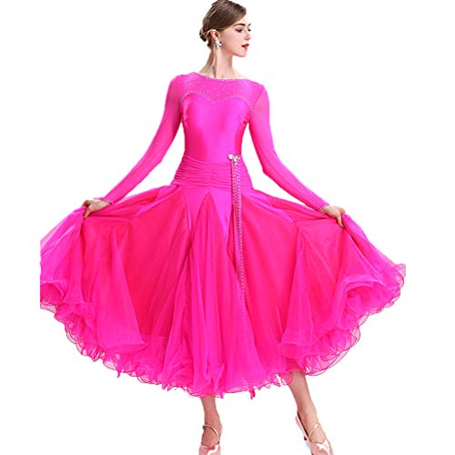 Kostüm Tanz Flamenco Muster - MoLi Klassisch Einfach Frauen Ballsaal-Tanzkleid Damen National Standard Tanzwettbewerb Kleid Lyrisch Walzer Tango Performance Kostüm Big Swing Tüllrock,Rose,XL
