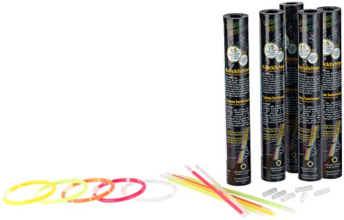 Glow Kostüm Stick - PEARL Leuchtstäbe: 75 Lightsticks (Knicklichter) in 5 Neon-Leuchtfarben, 20 cm Länge (Glow Stick)