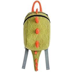 Fortuning's JDS® De los niños del niño del morral 3D de diseño mochila dinosaurio lindo niños mochila, verde