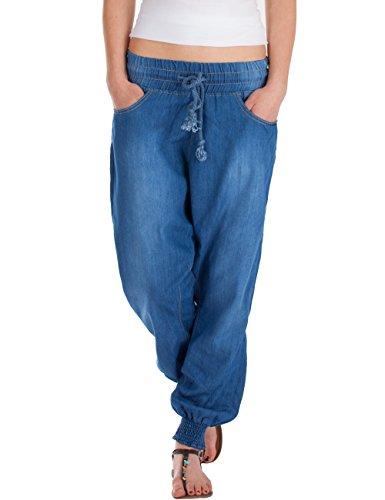 Harem Damen Jeans (Fraternel Damen Jeans Stoffhose Baggy Pluderhose Haremshose Sarouel Blau XL / 42)