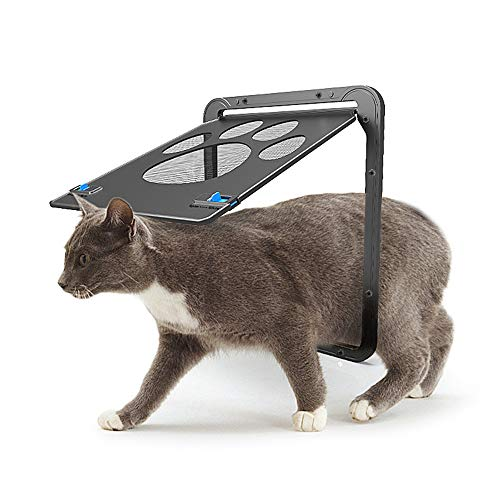 PET SPPTIES Pet Screen Tür Haustier Automatisches Schloss Abschließbare Eingang Tor Safe Gate Door Türeinsatz Hund Katze PS049 (Black) -