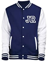 KIDS VARSITY JACKET WITH FRONT INITIAL PERSONALISATION (Oxford Navy/White) NEW PREMIUM Unisex American Style Letterman College Baseball Custom Top Boy Girl Children Child Gift Present AWD - By 123t