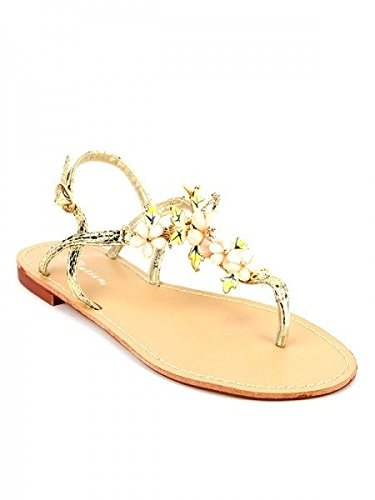 Cendriyon, Tong Flowers CATISA Chic Chaussures Femme Doré