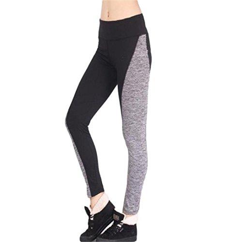 Frauen hohe Taille Patchwork Yoga Sport Leggings, ZMhuihui Strecken Elastischer Bund Baumwolle Sporthosen Athletic Gym Fitnesshose (Schwarz, XL) (Bein Animal Print Sexy)