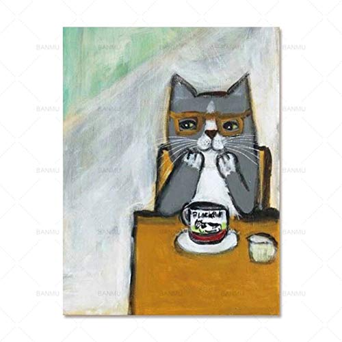 FENGJIAREN High Definition Printing Posters and Prints Art Cartoon Animal Drinking Coffee Cat Decoration Canvas Painting for Living Room Home Decor No Frame,70Cm×100Cm