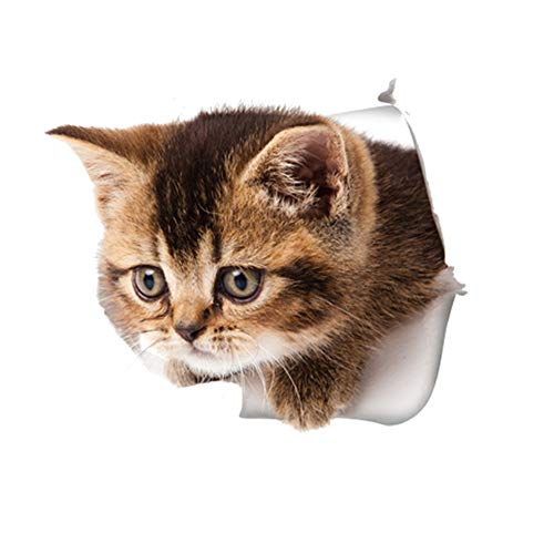 3D-Stereo-Katze Gebrochen Wand Cartoon Wandaufkleber Kätzchen Welpen Wasserdicht Dekorative Wc-Abdeckung Aufkleber Notebook Aufkleber B