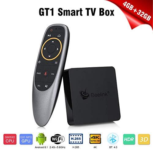 Beelink GT1 MINI TV BOX, Android 8.1, RAM 4GB+ ROM 32GB, CPU: Amlogic S905X2, GPU: ARM G31 MP2 Graphics, Doppia WiFi 2.4G/5.8G, Soportes 3D, Descodificación 4Kx2K, H.265, OTG, BT, Colore Negro e Rojo