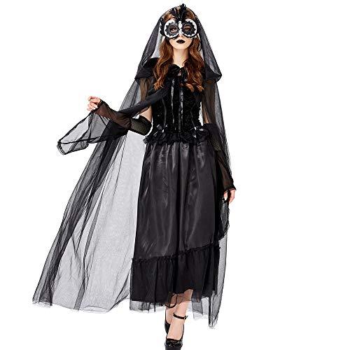 Lady Ghost Kostüm Soul - Chengzuoqing-CL Halloween Damenkostüme Halloween Kleid Rave Party Kostüm Mysterious Witch Cloak Vampire Dark Witch Braut Kostüm for Erwachsene Party anziehen (Farbe : Schwarz, Größe : M)