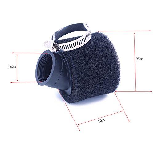 2pcs 35mm-48mm Bent esponja espuma filtro de aire limpiador recto cuello para...