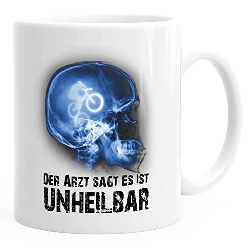 Moonworks® Kaffee-Tasse Xray Der Arzt sagt es ist unheilbar Hobby Röntgenbild Bike Fahrrad Downhill Geschenk-Tasse weiß unisize