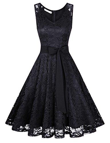 KOJOOIN Damen Vintage Kleid Brautjungfernkleid Knielang Spitzenkleid Cocktailkleid mit neum Gürtel Schwarz S