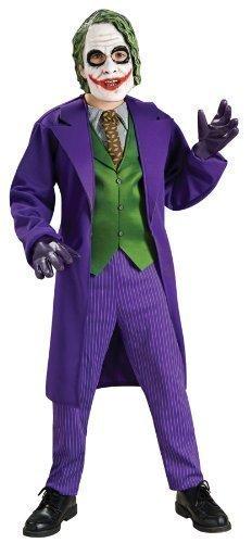 Deluxe Jungen Der Joker Batman mit Maske Bösewicht Kostüm Kleid Outfit alter 3-10 Jahre - Lila, Lila, 8-10 Years (Der Offizielle Batman Kostüm)