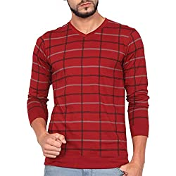 WEXFORD Men's Full Sleeve V-Neck Printed Casual T-Shirt(Maroon,X-Large,Cotton)