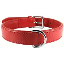"Comfy LEATHER DOG COLLAR Padded And lined with Lamb's Leather: Large 20"" - fits neck sizes from 14"" to 18"" (Width 1"")"