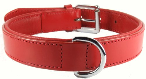 plain-padded-red-leather-dog-collar-chrome-fittings-large-2050cm-fits-neck-sizes-from-14-to-18