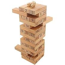 Tootpado Tumbling Tower 48 Wooden Building Block Games, 24cm (1c475) Brown