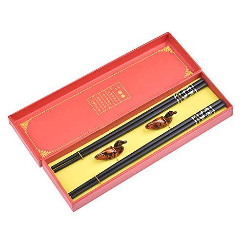 Quantum Abacus Black Metal Set de Baguettes en Alliage Métallique Noir dans Coffret Cadeau - 2 Paires des Baguettes en métal Noir, 2 Supports en Bambou, H-S2-ML-01