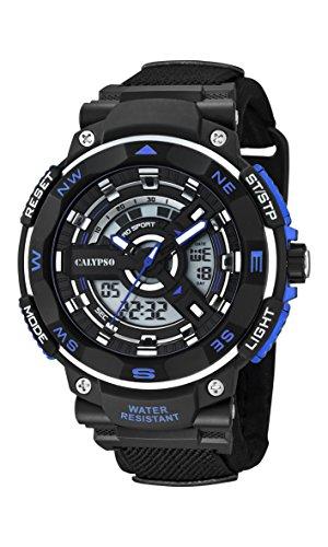 Calypso digital LCD Reloj de hombre de cuarzo con Esfera Analógica Pantalla y Correa de plástico en color negro k5673/5