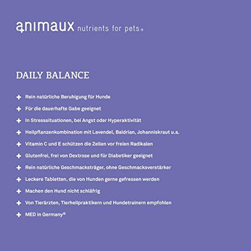 animaux – nutrients for pets: daily balance | Ruhe und Entspannung | zur natürlichen Stresslinderung bei Trennungsangst, Hyperaktivität, allgemeinen Angstzuständen und Unruhe, bei aggressivem Verhalten, übermäßigem Bellen, vor Reisen oder dem Tierarztbesuch, bei Gewitter oder Feuerwerk | ohne künstliche Aromen | rein natürlichen Geschmacksträger | hohe Geschmacksakzeptanz | 10-fach konzentrierten Pflanzenstoffe mit der Kraft von Lavendel, Johanniskraut, Baldrian, Hopfen und Passionsblumenkraut - 5