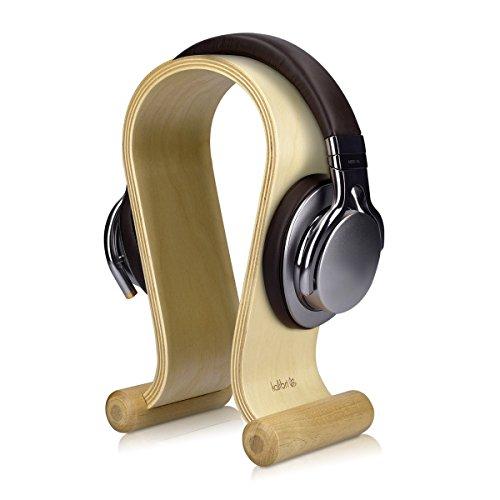 kalibri Kopfhörerhalter Kopfhörerständer Universal aus Holz - Kopfhörer Halter Gaming Headset Halterung - on Ear Headphone Stand - in Birkenholz
