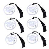 Toyvian - Marcapáginas de acero inoxidable con forma de tapa de Doctoral, 6 unidades, con borla negra, regalos de graduación (plata)