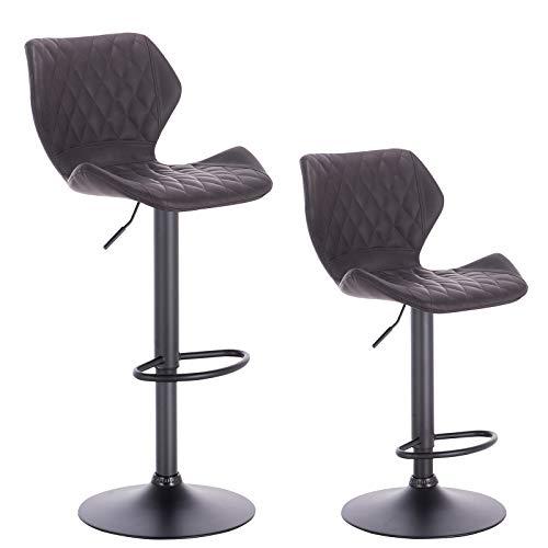 Woltu bh96sz-2 sgabello da bar coppia sgabelli cucina sedia girevole con schienale in ecopelle antracite