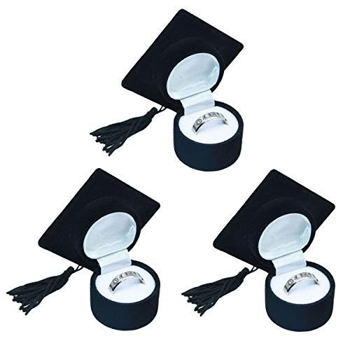 Amosfun Graduation Cap Ring Box Doctoral Hat Förmigen Ring Box Organizer Graduation Schmuckschatulle Aufbewahrungskoffer Ring Halter Graduierung Geschenk 3 Stücke
