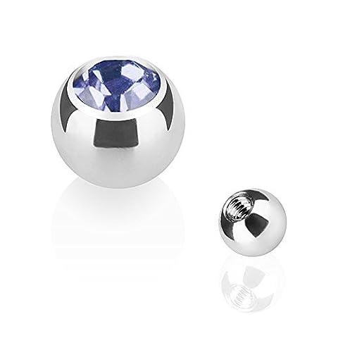 Piercingfaktor Piercing Ersatz Schraubkugel Edelstahl Silber mit Kristall - Kugelgröße: 4mm Gewinde: 1,6mm / Tanzanite