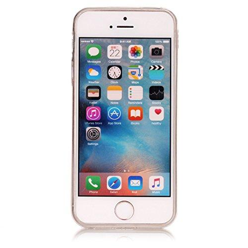 Custodia iPhone 5S, ISAKEN Cover per Apple iPhone 5/5S/SE [TPU Shock-Absorption] - Marmo Modello Naturale Custodia Soft TPU Sottile Custodia Case Morbido Protettiva Bumper Caso, Rosa nero Fiori rosa