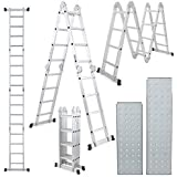 Champion Aluminium Multipurpose 4 x 3 Combination Ladder 370 cm (12.15 Ft) with Top Plates & Working Shelf
