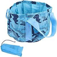 OUNONA 15L Faltbar Eimer Falteimer Wassereimer mit Griff für Auto Outdoor Wandern Reisen Angeln Camping (Camouflage Blau)
