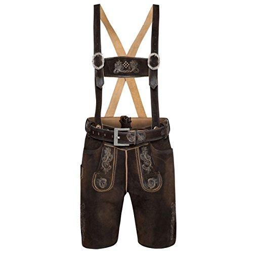 MarJo Trachten kurze Lederhose Cornelius in Dunkelbraun, Größe:54, Farbe:Dunkelbraun