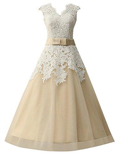 JAEDEN Brautkleider Damen A Linie Hochzeitskleider Tüll V-Ausschnitt Wadenlang Champagne EUR50